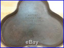 RARE Axford Clover Leaf pancake cast iron griddle