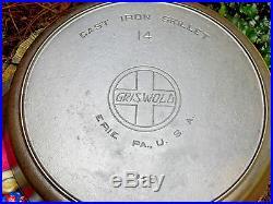 RARE Griswold Erie 14 Slant Logo Cast Iron Skillet Level Clean