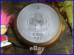 RARE Griswold Erie 4 Slant Logo withHeat Ring 702 Cast Iron Skillet ca. 1907-1912