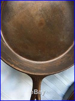 RARE Griswold Large Block Logo HeatRing Cast Iron Skillet Lot Set 7 8 10 12