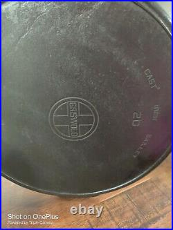 RARE LARGE GRISWOLD ERIE #20 Cast Iron Skillet WithHeat Ring No Cracks