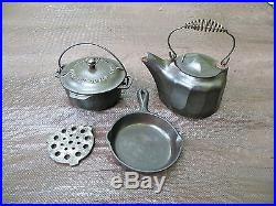 RARE LOT of SALESMAN SAMPLE TOY GRISWOLD CAST IRON PANS NO. 0 HARD TO FIND