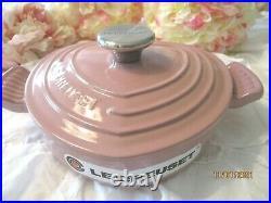 RARE Le Creuset CAST IRON HEART BUFFET DUTCH OVEN Antique Pink Rose 1 Quart