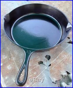 RARE MOLD ERROR GRISWOLD 716 A # 10 Cast Iron LG SLANT LOGO Skillet w Heat Ring