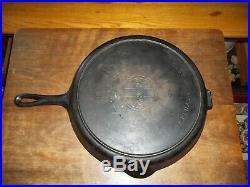 RARE NO. 13 Griswold Cast Iron Skillet Iron Frying Pan Heat Ring SLANT LOGO 720