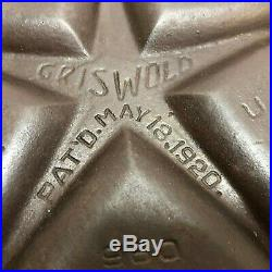 RARE ORIGINAL GRISWOLD CAST IRON No 100 HEARTS and STAE GEM PAN Pat'd 1920 #960