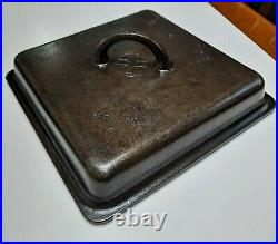 RARE VINTAGE GRISWOLD SQUARE CAST IRON SKILLET #768B With MATCHING LID #769 -FLAT