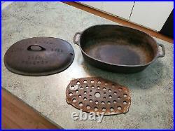RARE Vintage GRISWOLD No. 5 Cast Iron Oval Roaster Dutch Oven w Trivet & Lid