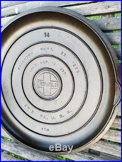 REMARKABLE GRISWOLD #14 cast iron skillet SET large pan & very hard to find lid
