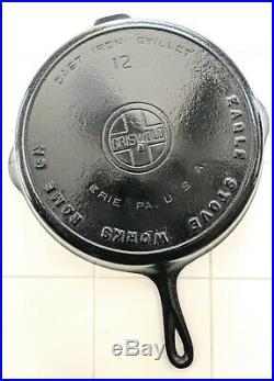 Rare! #12 Eagle Stove Works Rome Ca (griswold Large Block Tm) Cast Iron Skillet