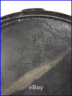 Rare #14 Wagner Ware Cast Iron Skillet With Lid And Heat Ring Pattern # 1064