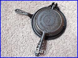 Rare Birmingham Stove Range BSR #7 Cast Iron Waffle Iron Birmingham AL HTF