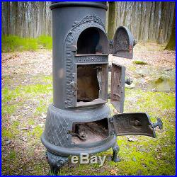 Rare Danish C. 1890 Lange Cast Iron Wood Parlor Stove Oven Log Cabin Pot Belly