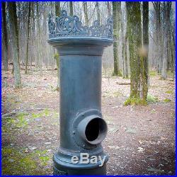 Rare Danish C. 1890 Lange Cast Iron Wood Parlor Stove Oven Log Cabin Pot Belly