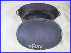 Rare Early Style Handles Wagner No. 3 Cast Iron Oval Roaster withGate Marked Lid