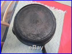 Rare Erie 9 Wood Handle Cast Iron Skillet Pre Griswold #727 PN Vtg USA