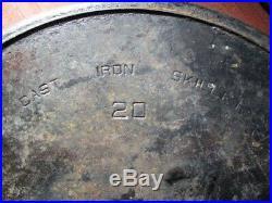 Rare Griswald 20 Vintage Cast Iron Skillet