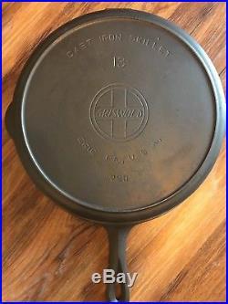 Rare Griswold 13 Slant Logo Cast Iron Skillet 720 withHeat Ring #13 EPU- Restored