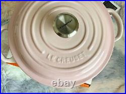 Rare Le Creuset Shell Pink Signature Stew Pot Black Interior 2.5QT Cast iron