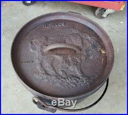 Rare MACA H. Rives 11 HEAVY CAST IRON DUTCH OVEN Buffalo India
