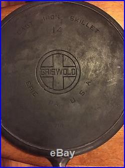 Rare Vintage Griswold No. 14 Large Block Logo Cast Iron Skillet PN. 718 15 Heavy