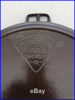 Rare Wagner Ware #14 Cast Iron Skillet Pie Logo