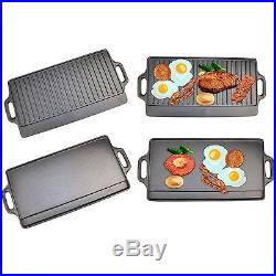Reversible Kitchen Bbq Oven Hob Cooking Non Stick Iron Cast Grill Griddle Plate