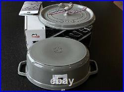 STAUB Cast Iron Dutch Oven Cocotte 5.75 qt Gray Rooster Knob