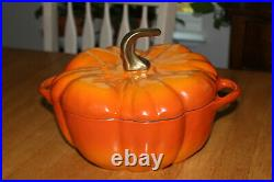 STAUB Cast Iron Pumpkin Cocotte 3.5-quart Harvest Fall Halloween Burnt Orange