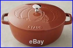 STAUB France Cast Iron French Oven 3.75 Quart Pumpkin Burnt Orange Round NEW