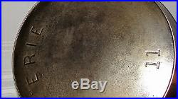SUPER RARE ERIE Cast Iron #11 2nd Series Skillet Pre Griswold with Heat Ring