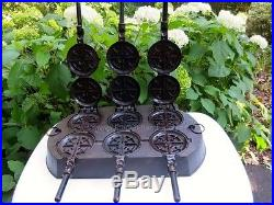 Scarce Griswold Cast Iron French Waffle Iron No. 8 circa 1885
