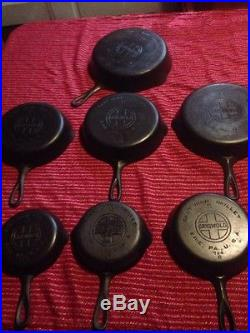 Set Of Griswold Large Block Logo Smooth Bottom Cast Iron Skillets 3 4 5 6 7 8 9