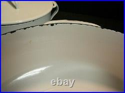 Set of (3) Dansk White Kobenstyle Cast Iron Casserole /Pots 4 qt, 2 qt, Saucepan
