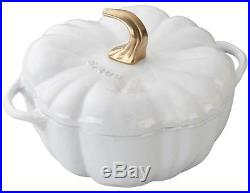 Staub 3.5 Qt Cast Iron Pumpkin Cocotte Dutch Oven Cooking Pot w Lid White NEW