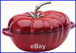 Staub 3 Qt Cast Iron Tomato Cocotte Dutch Oven Cooking Pot with Lid Cherry NEW