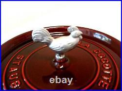 Staub 5 1/2 Qt. Dutch Oven Rooster Knob/ Grenadine