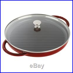 Staub Cast Iron 12 Round Steam Grill Brick Red