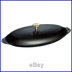 Staub Cast Iron 14.5 x 8 Covered Fish Pan Matte Black