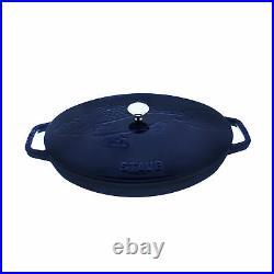 Staub Cast Iron 2.75-qt Oval Gratin with Fish Lid Visual Imperfections Dark