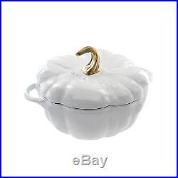 Staub Cast Iron 3.5-qt Pumpkin Cocotte Visual Impefections White