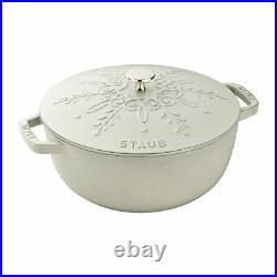 Staub Cast Iron 3.75-qt Essential French Oven with Snowflake Lid White Truffle