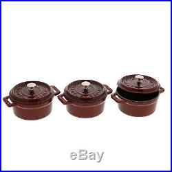 Staub Cast Iron 3-pc Mini Round Cocotte Set Brick Red
