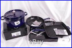 Staub Cast-Iron 4-piece cookware set Dutch oven, fry & grill pan, sapphire blue