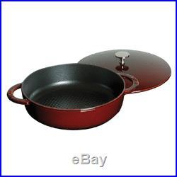 Staub Cast Iron 4-qt Hexagon Saute Pan Grenadine