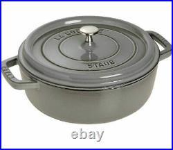 Staub Cast Iron 4 qt Round Cocotte Graphite Grey