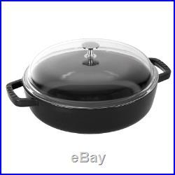 Staub Cast Iron 4-qt Universal Pan Visual Imperfections Black Matte