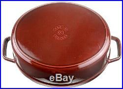 Staub Cast Iron Coq Au Vin 31 cm Oval Roaster Cocotte 5.75 QT Grenadine