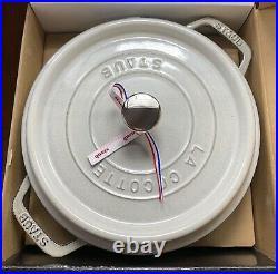 Staub Enameled Cast Iron 4-qt Round Cocotte Dutch Oven White Truffle New In Box