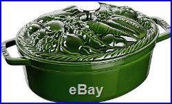 Staub gemüse-cocotte Roaster Vegetable Pot Saucepan basilikumgrün29cm Cast Iron